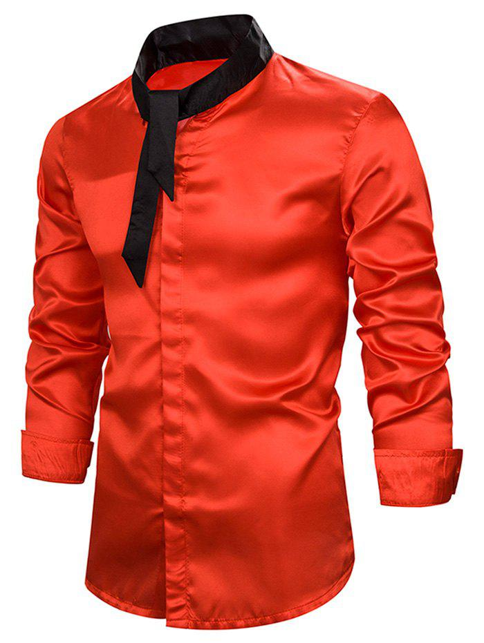 Contrast Tie Neck Button Up Long Sleeve Shirt - RED 2XL
