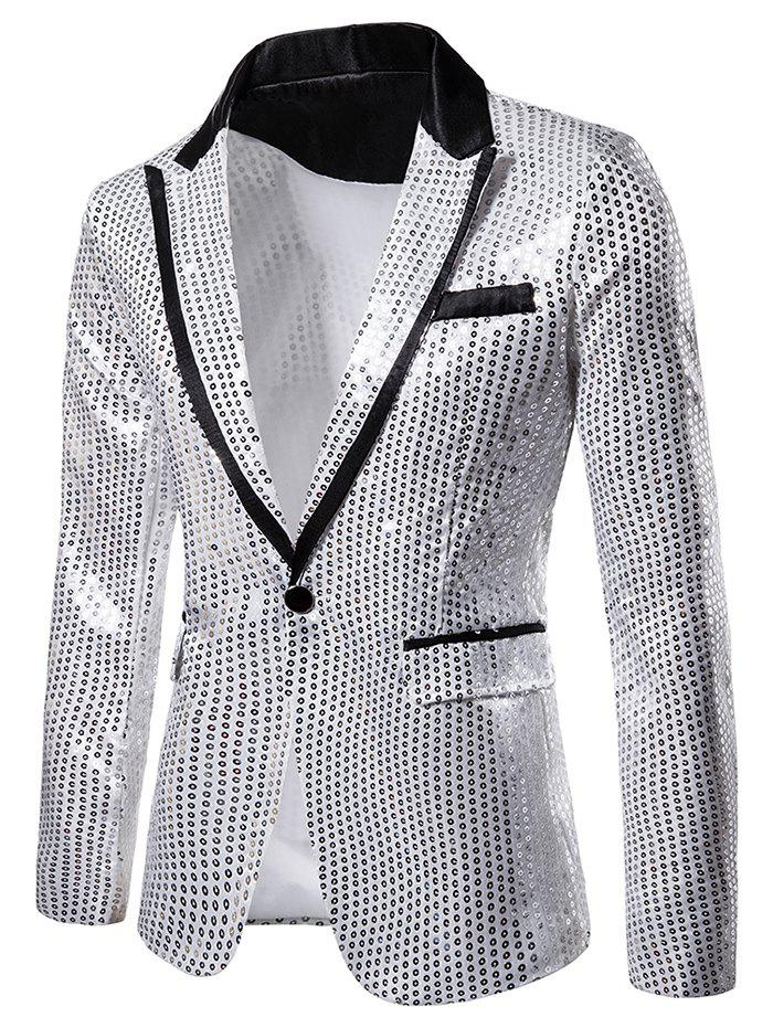 Glitter Sequined Notch Lapel One Button Blazers - SILVER 2XL