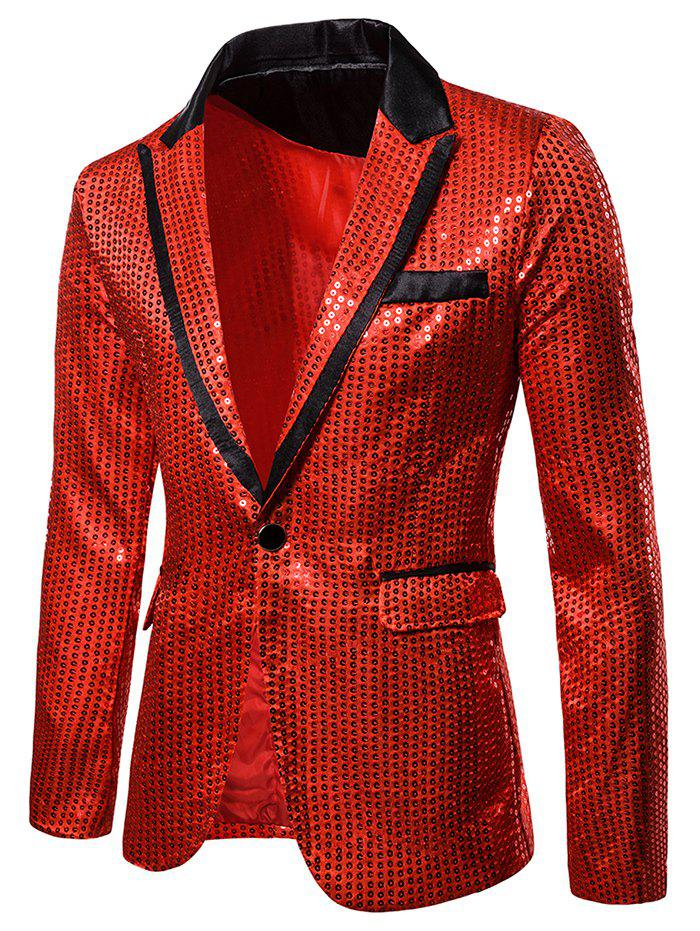 Glitter Sequined Notch Lapel One Button Blazers - RED XL