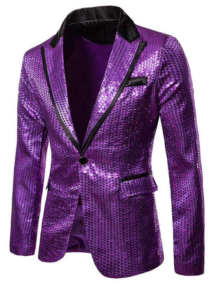 Glitter Sequined Notch Lapel One Button Blazers - PURPLE 2XL