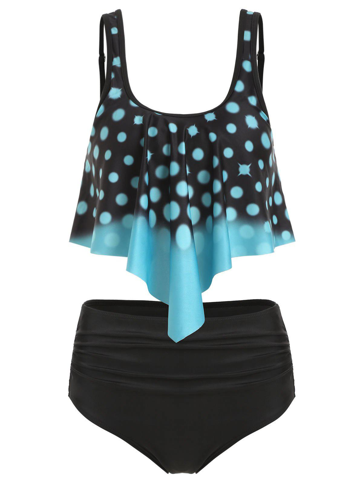 Polka Dot Overlay Ruched Tankini Swimsuit - TURQUOISE 3XL