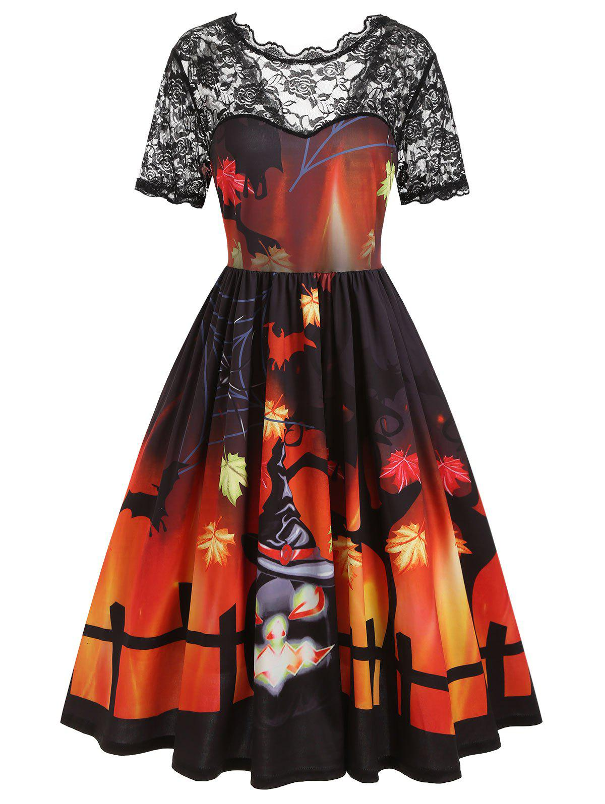 Plus Size Pumpkin 3D Print Halloween Vintage Swing Dress