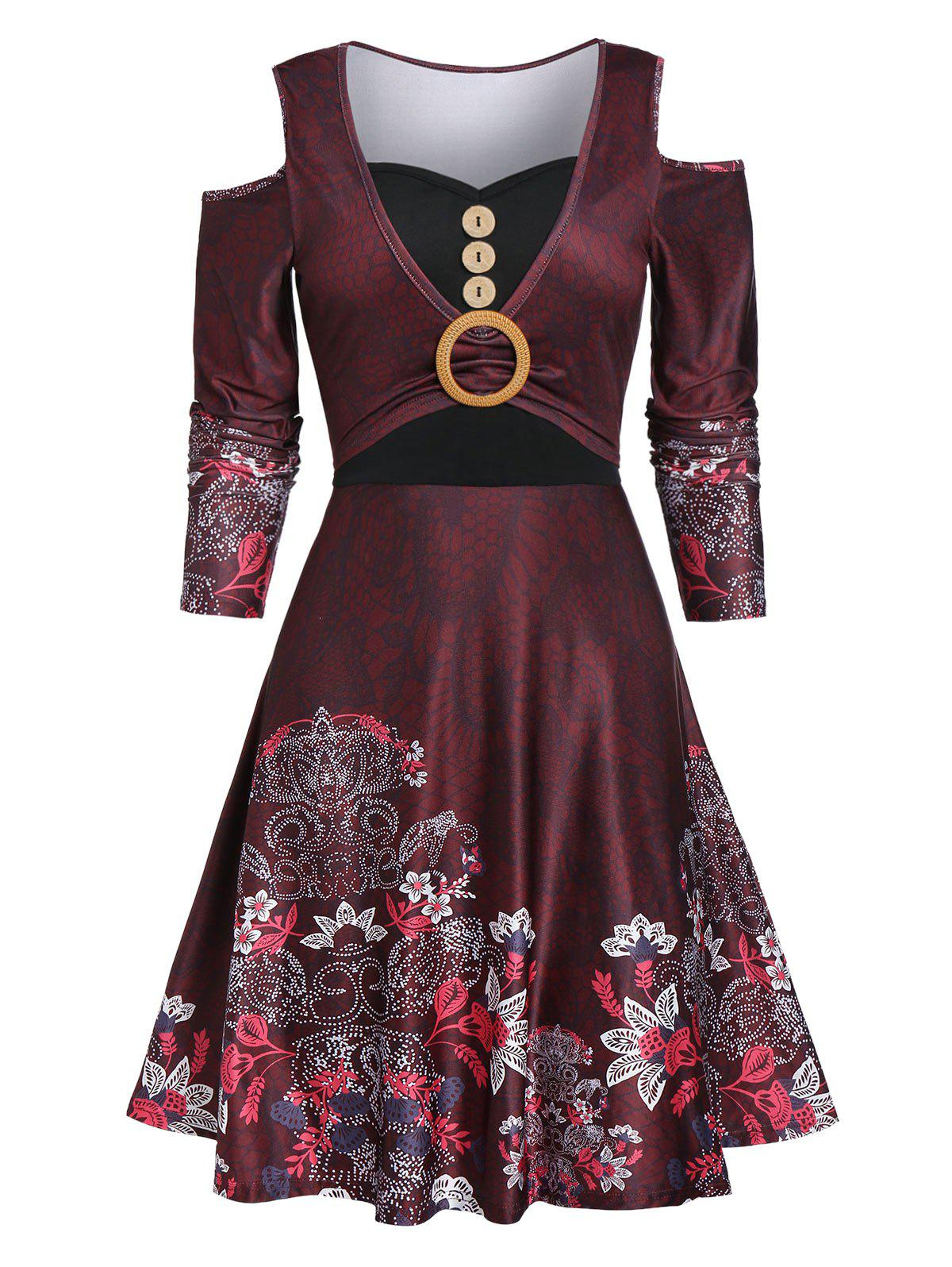 Cold Shoulder Button Floral Print Dress - RED WINE 2XL
