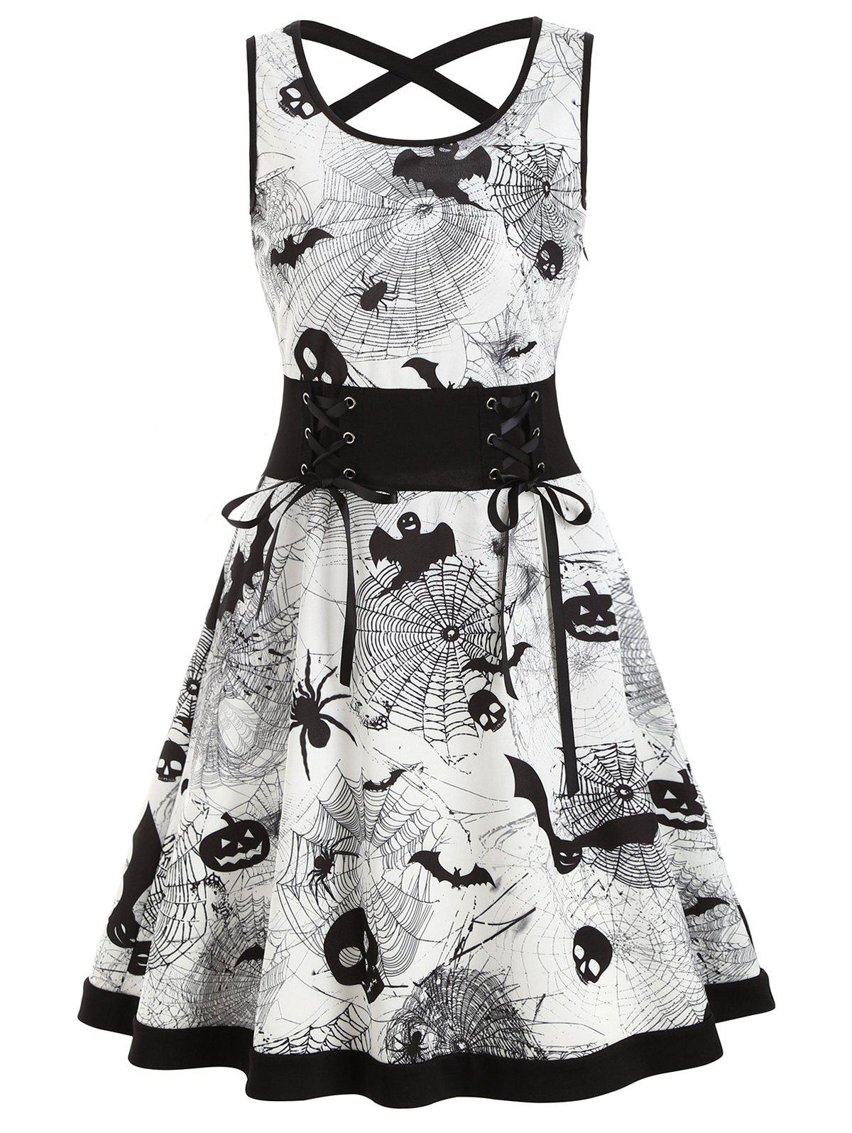 Lace Up Bat Pumpkin Halloween Flare Dress