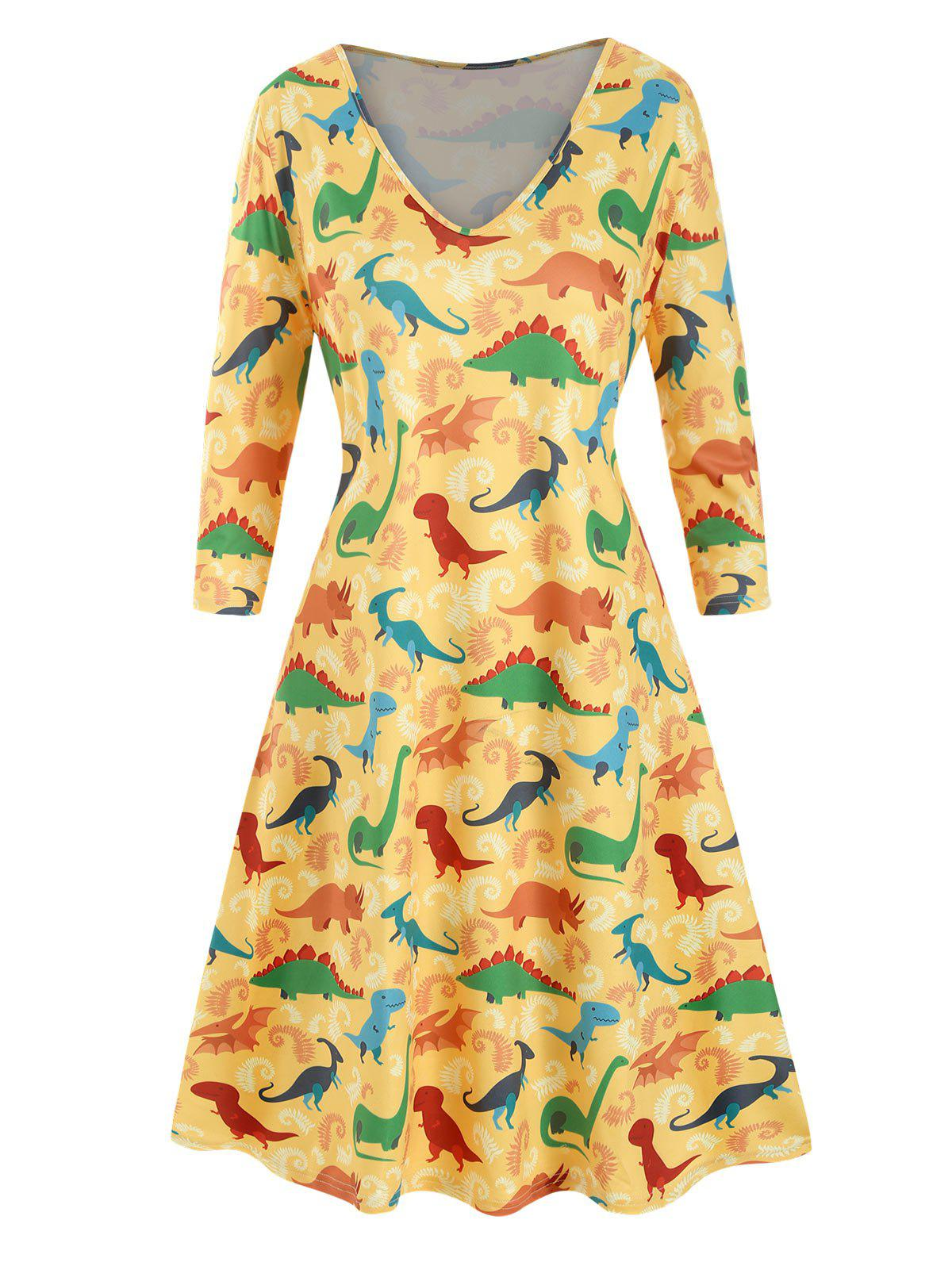Plus Size Dinosaur Print T Shirt Dress - SUN YELLOW L