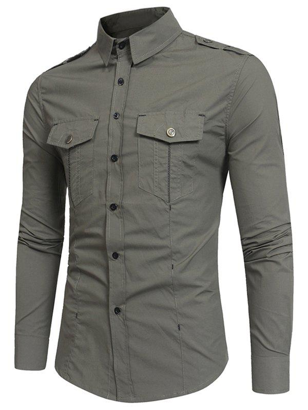 Pocket Decoration Long-sleeved Cargo Shirt - ARMY GREEN XL