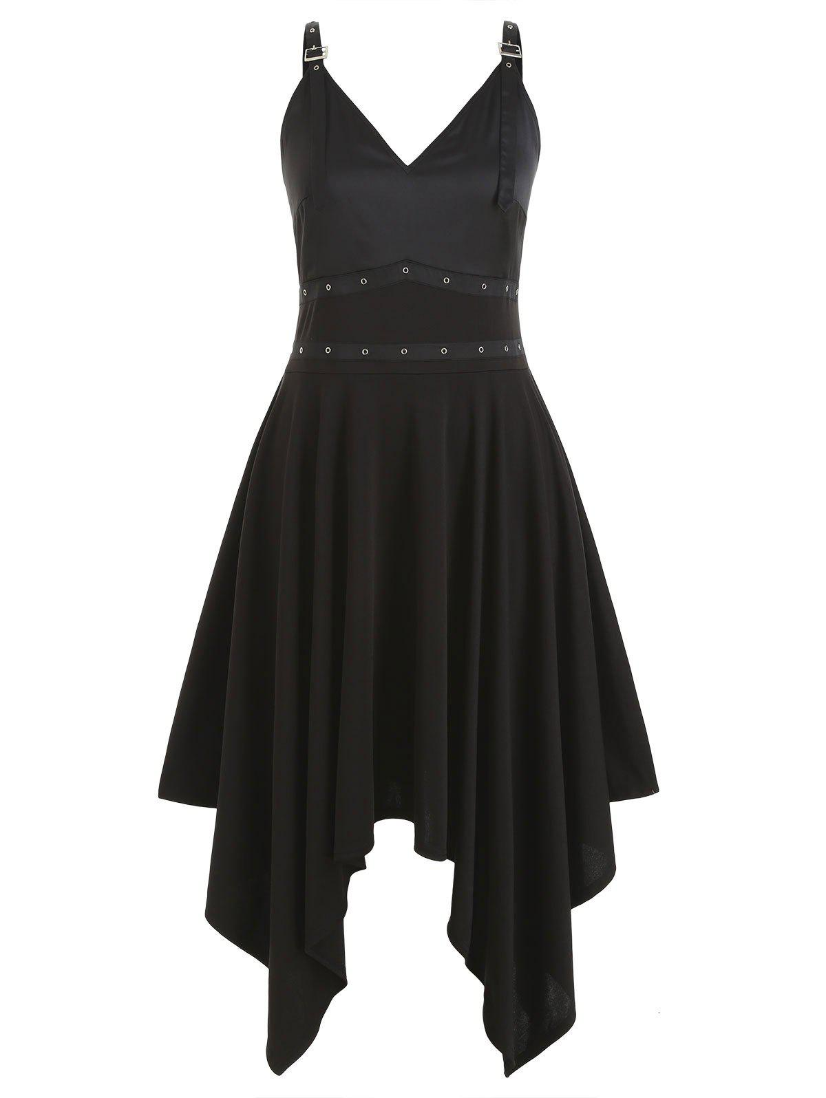 Plus Size Grommets Buckle Straps Hanky Gothic Dress - BLACK 1X
