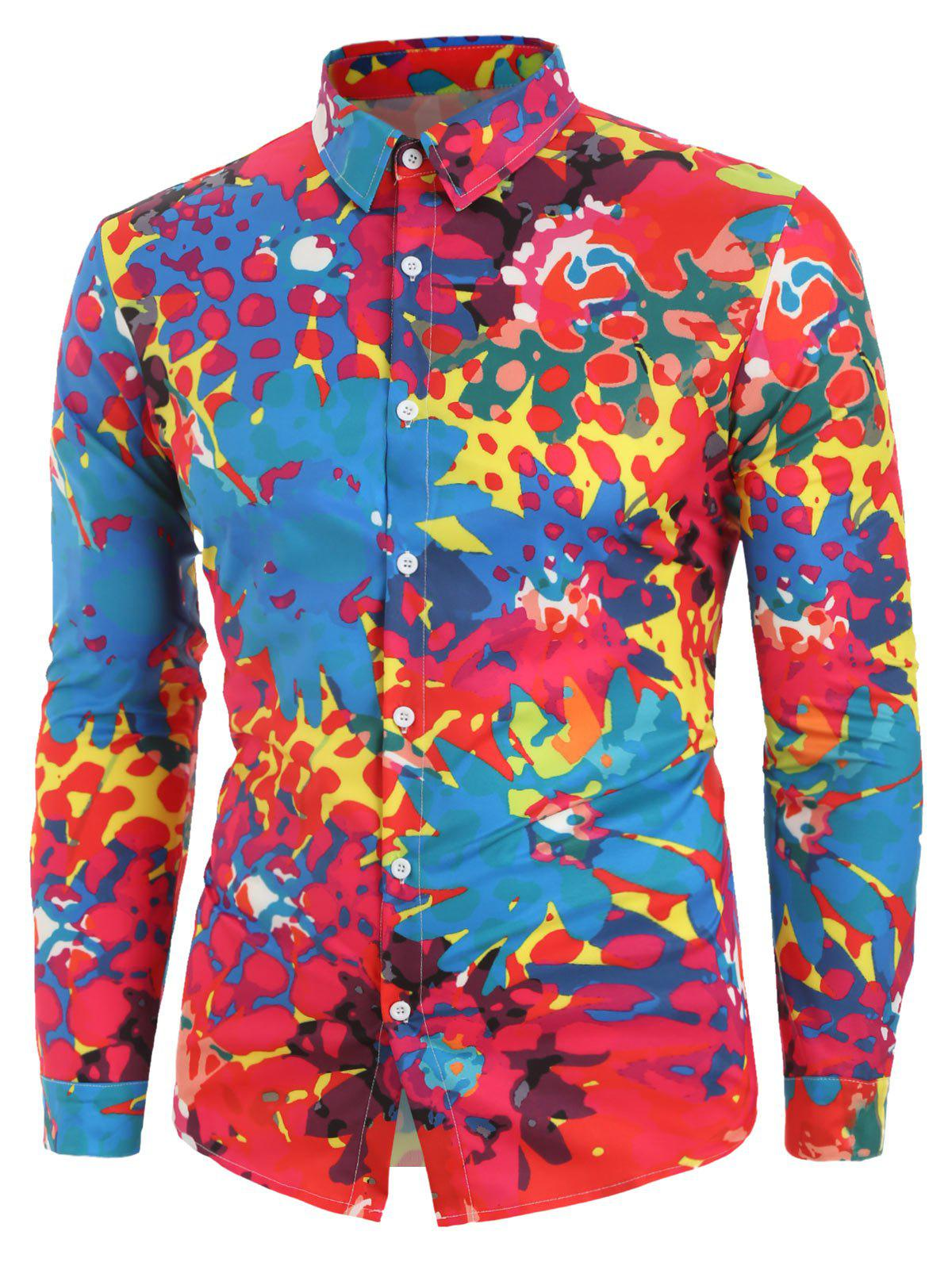 Floral Painting Printed Long Sleeves Shirt - multicolor A S