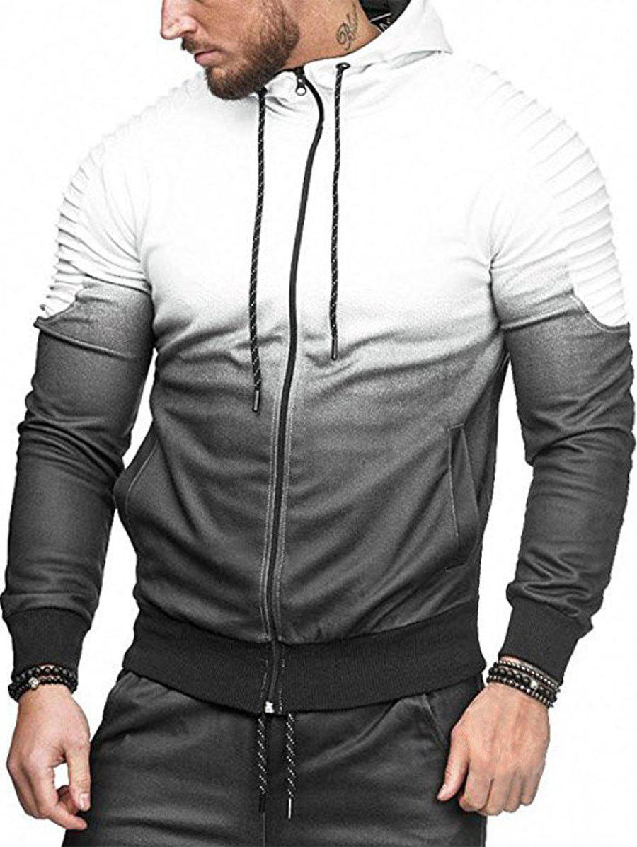 Ombre Shoulder Pleated Sports Zip Hoodie - WHITE XL