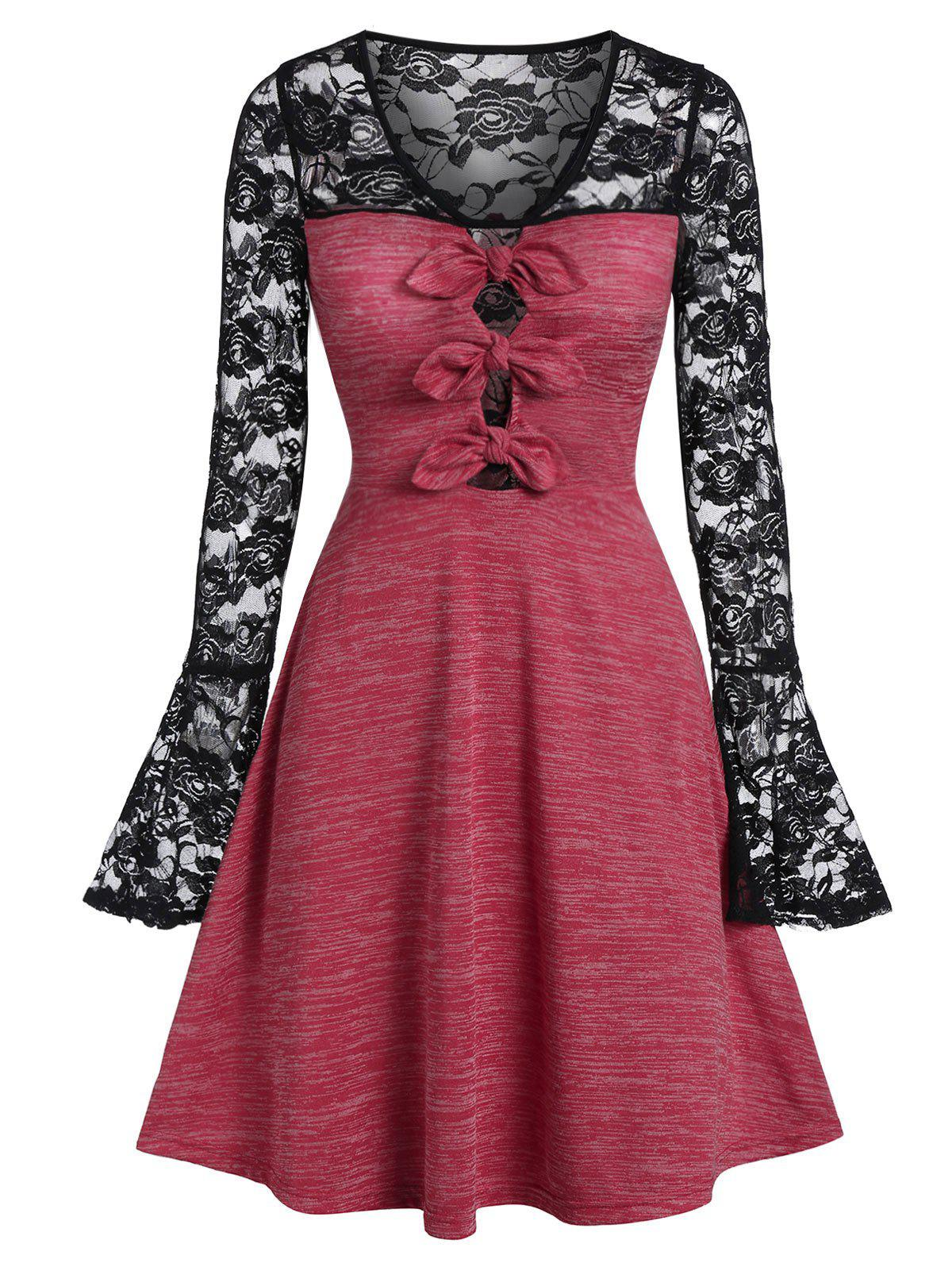 Lace Panel Marled A Line Dress - CHERRY RED XL
