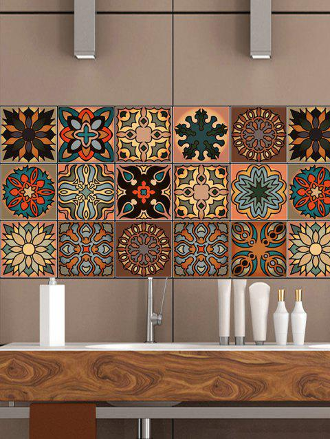 Abstract Floral Printed Tile Wall Sticker Set - multicolor 20*100CM*4PCS