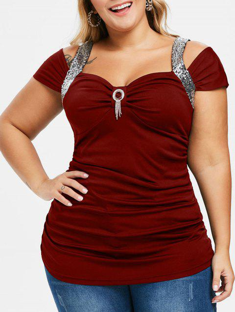 Plus Size Sequined Cold Shoulder T Shirt - RED WINE 2X