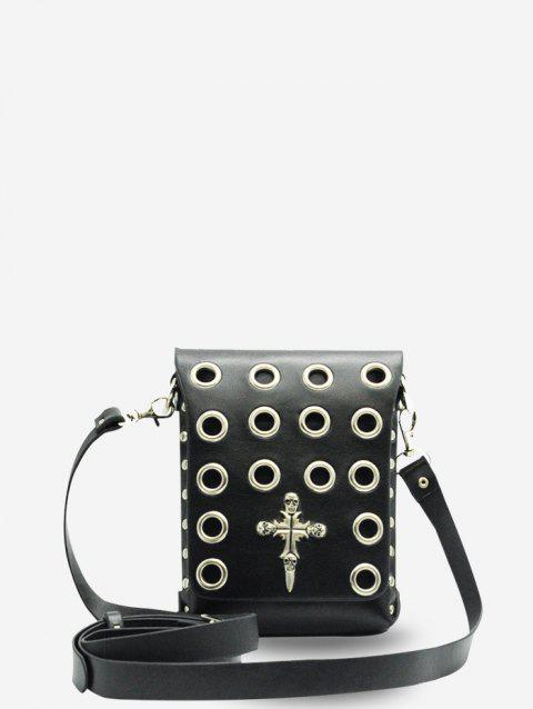 Punk Style Halloween Crossbody Bag - BLACK