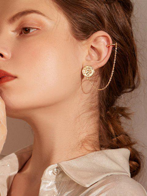 Coin Design Alloy Chain Clip Earrings - GOLD