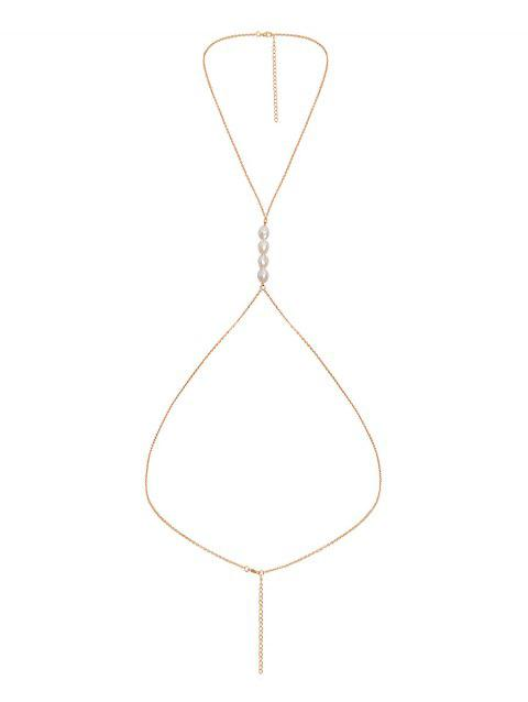 Stylish Alloy Pearl Decorate Body Chain - GOLD