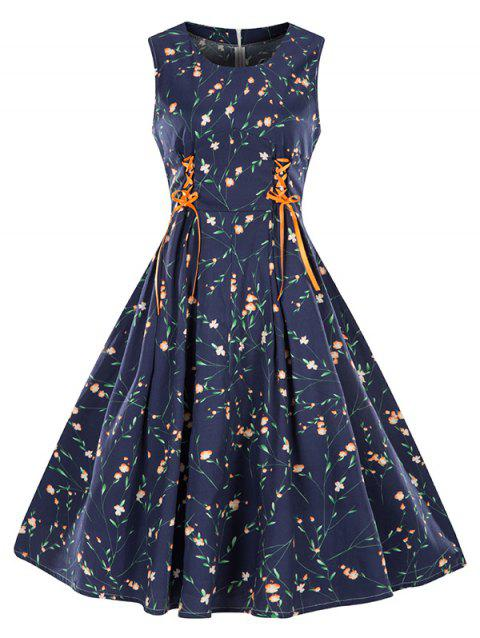 Sleeveless Floral Print Lace-up Vintage Dress - LAPIS BLUE 3XL