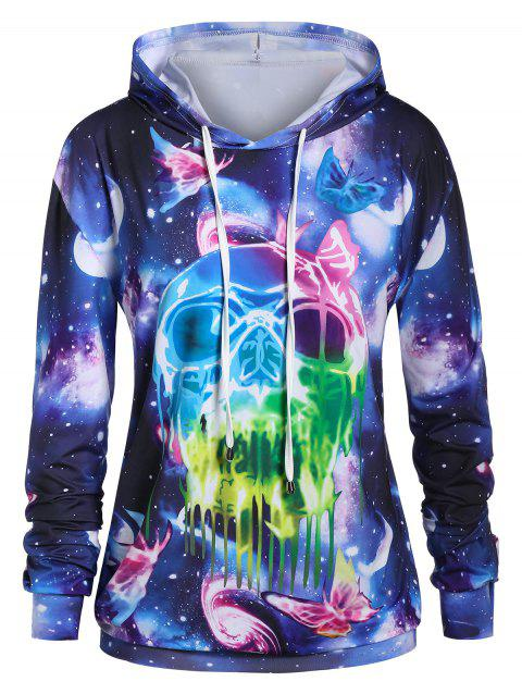Plus Size Long Sleeve Galaxy Print Tunic Hoodie - multicolor L