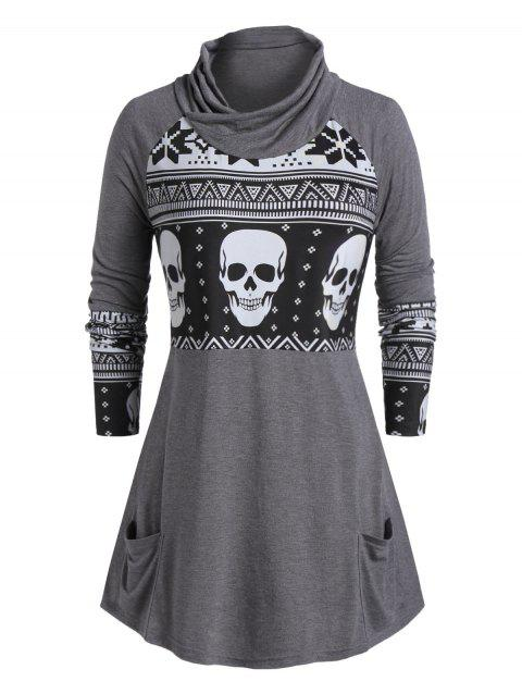 Plus Size Cowl Neck Skull Print Halloween T-shirt