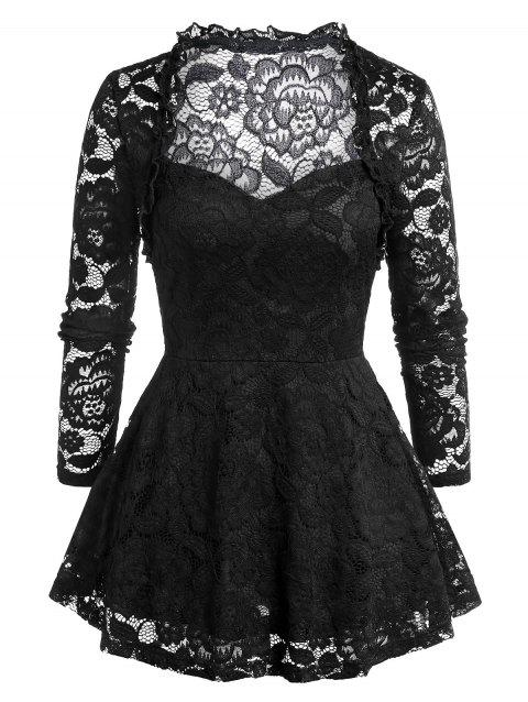 Plus Size Lace See Thru Solid Tunic T Shirt - BLACK 4X
