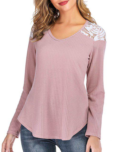 Lace Panel Curved Hem Long Sleeves Tee - PINK L