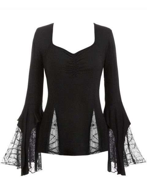 Plus Size Spider Web Lace Bell Sleeve Gothic T-shirt - BLACK 2X