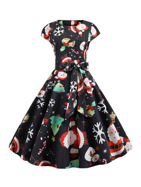Santa Claus Snowman Belted Christmas Flare Dress - BLACK S