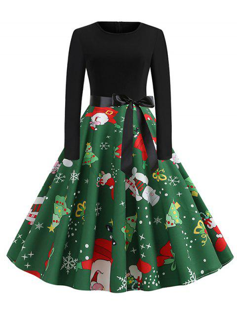 Santa Claus Snowman Christmas Belted Flare Dress - BLACK S