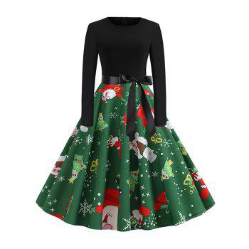 Santa Claus Snowman Christmas Belted Flare Dress