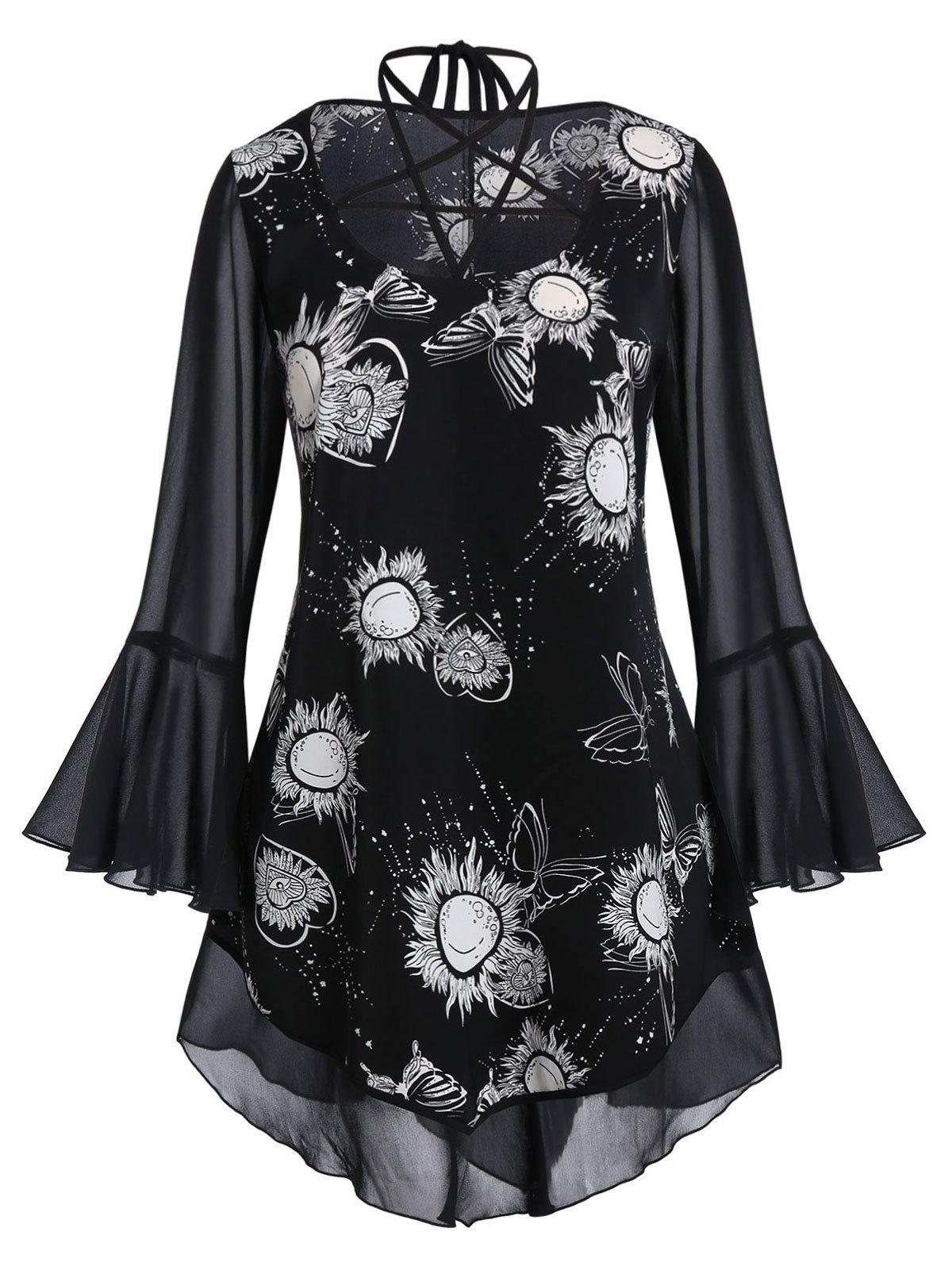 Plus Size Sun Print Strappy Bell Sleeve Sheer Blouse - BLACK 1X