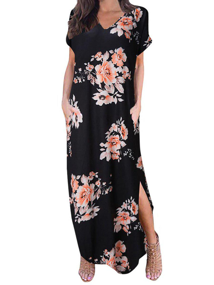 Floral ourlet arrondi Maxi robe - Rose 3XL