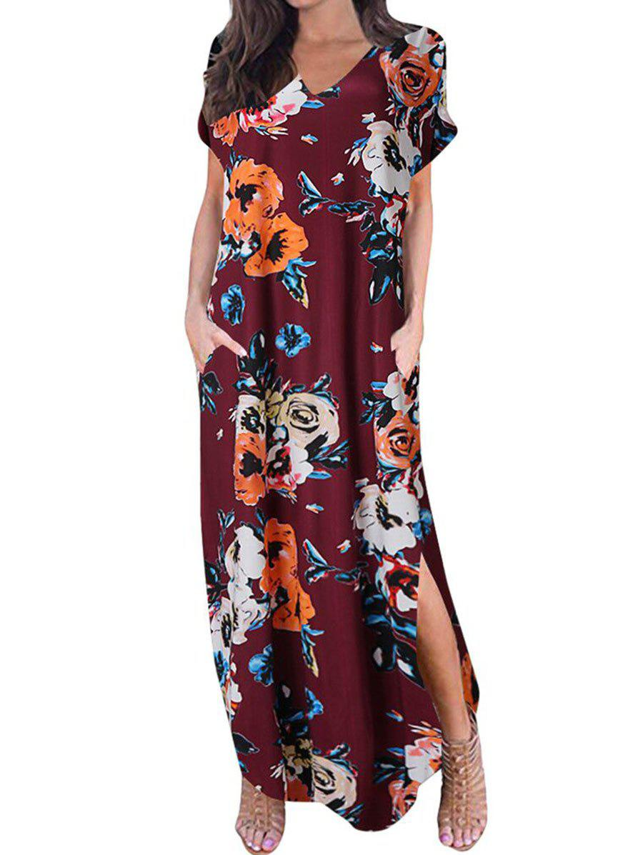 Floral Curved Hem Maxi Dress - RED WINE 3XL