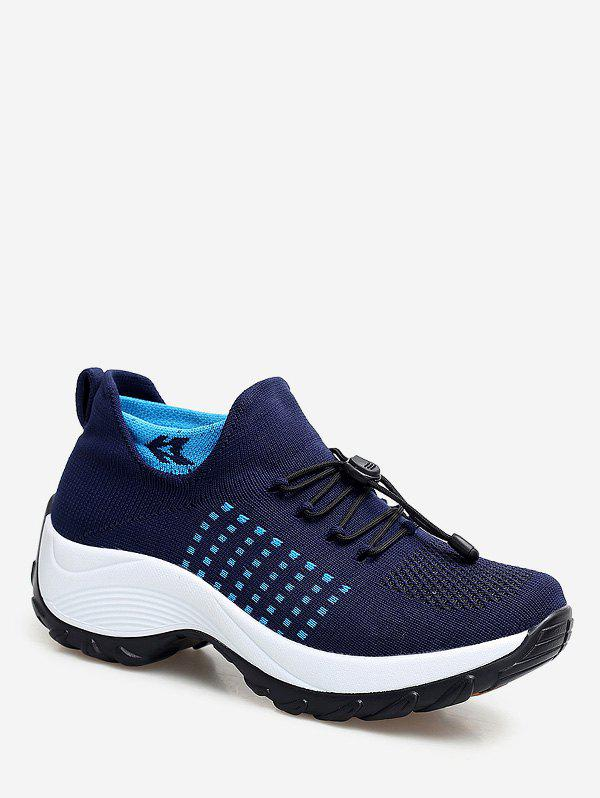 Mesh Breathable Avoid Lace Up Sneakers - SLATE BLUE EU 42