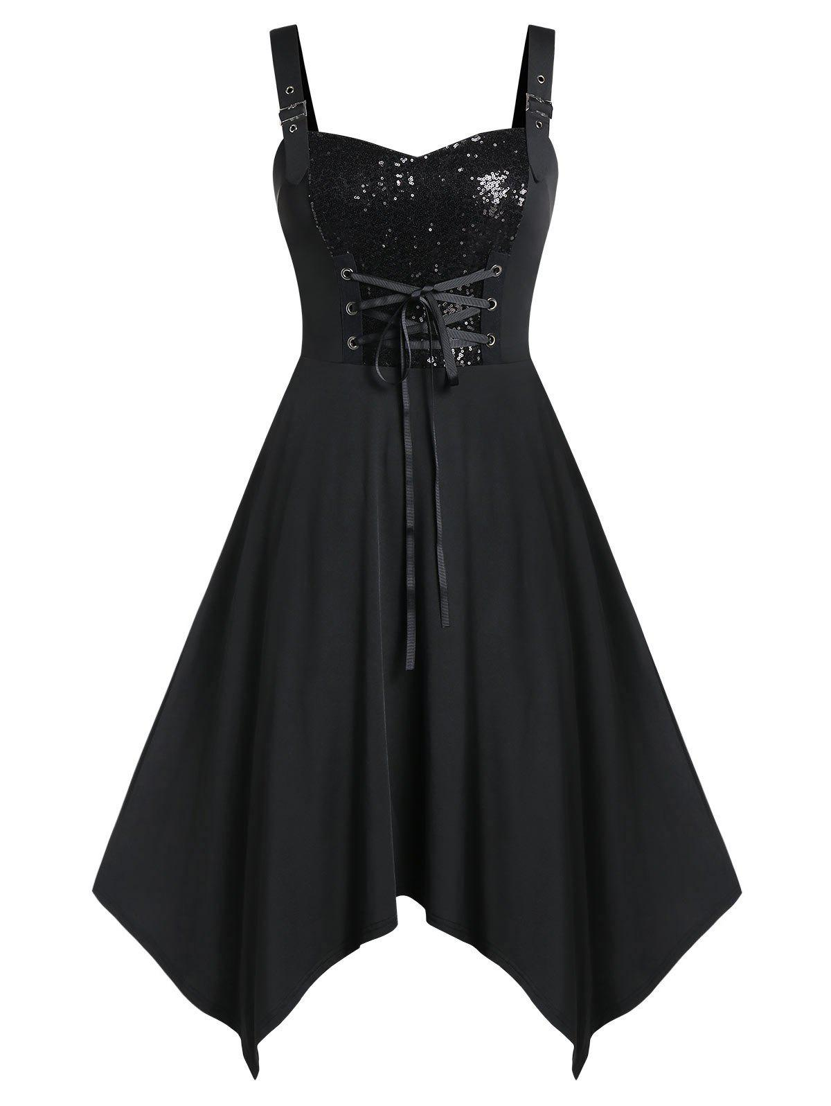Plus Size Asymmetrical Sequined Solid Dress - BLACK 3X