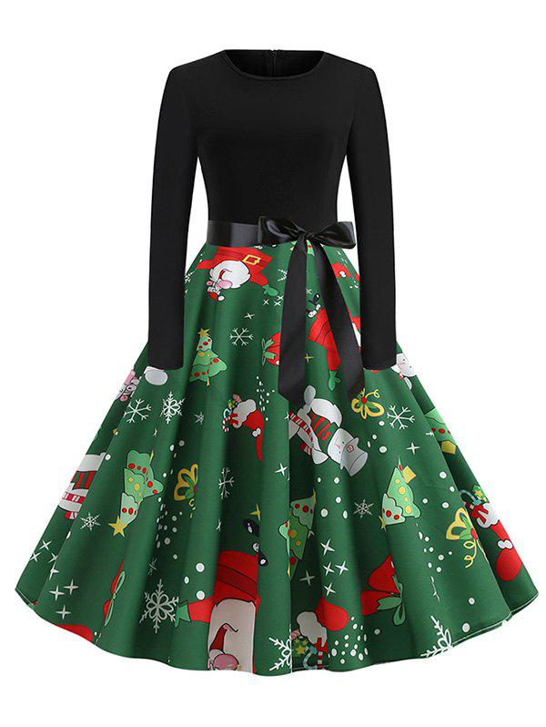 Santa Claus Snowman Christmas Belted Flare Dress - BLACK L
