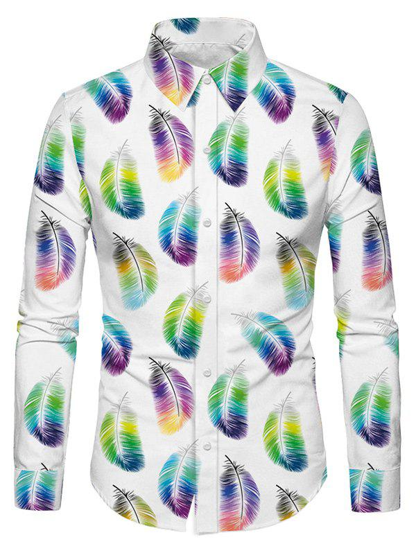 Casual Feather Print Long Sleeves Shirt - WHITE 2XL