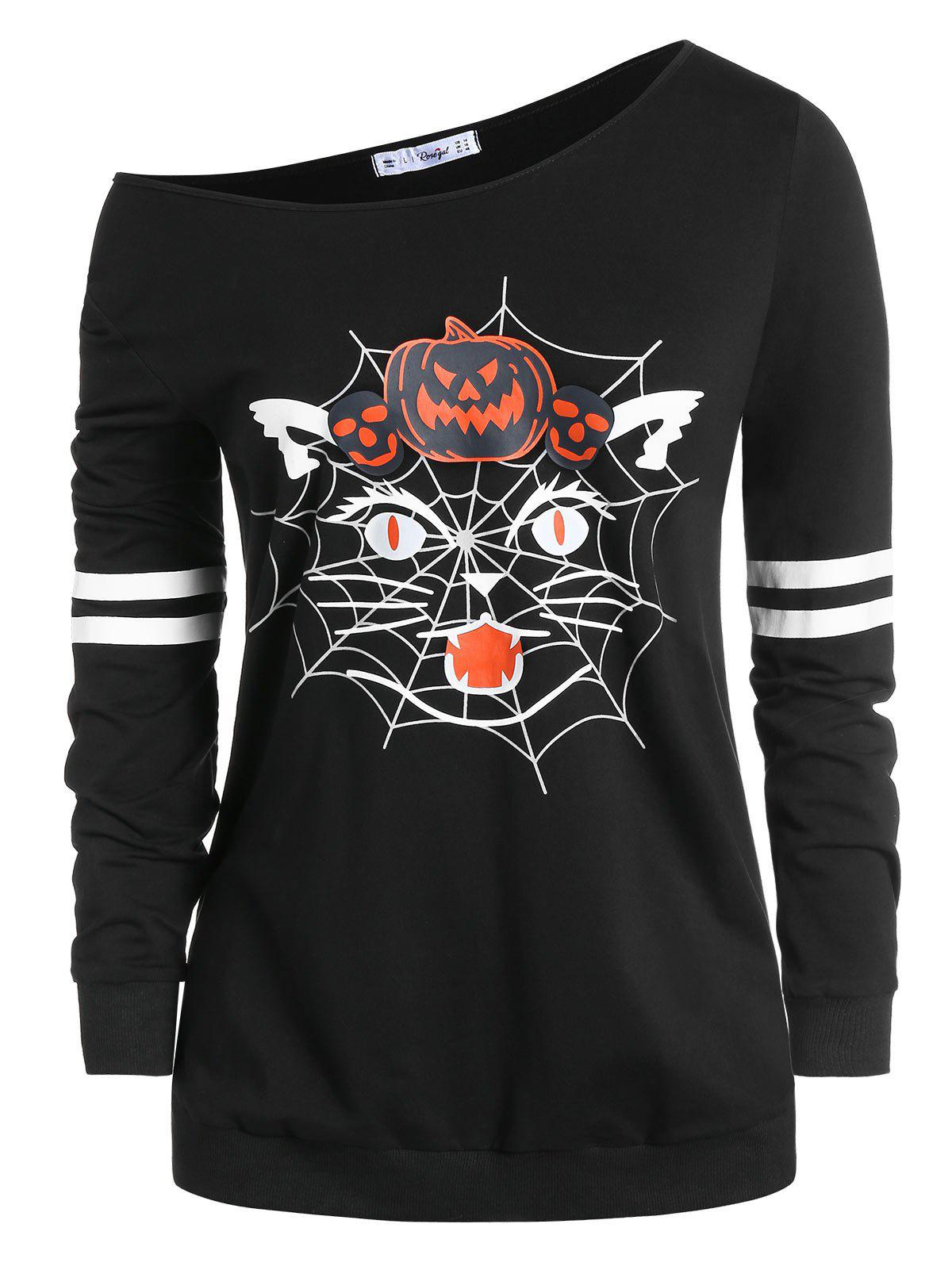 Plus Size Halloween Skew Neck Pumpkin Spider Web Print Sweatshirt