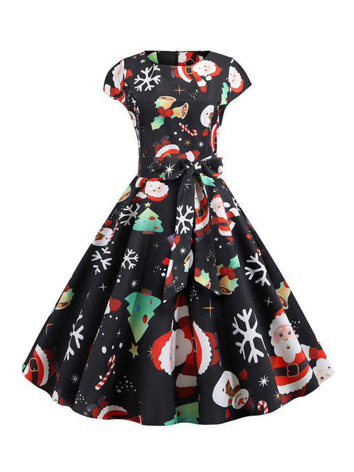 Santa Claus Snowman Belted Christmas Flare Dress - BLACK M