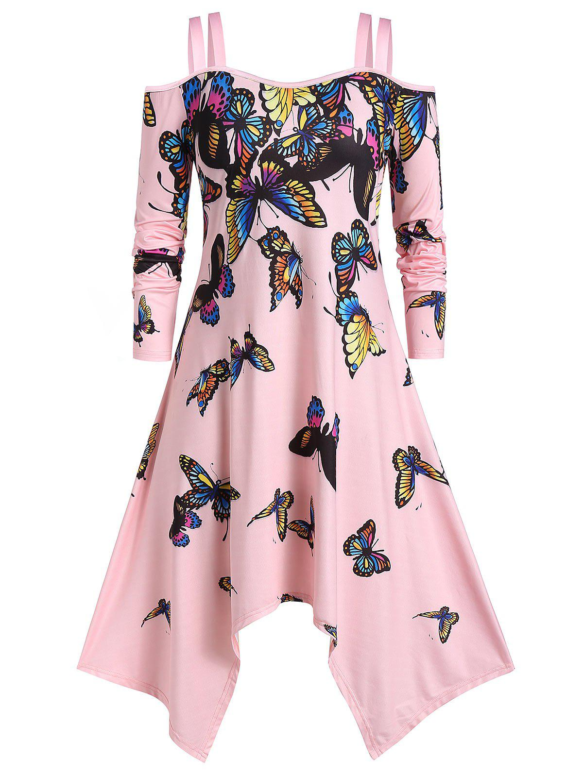 Plus Size Butterfly Print Cold Shoulder Hanky Hem Dress - LIGHT PINK L
