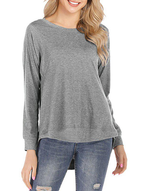Solid Long Sleeves High Low Tee - GRAY 2XL