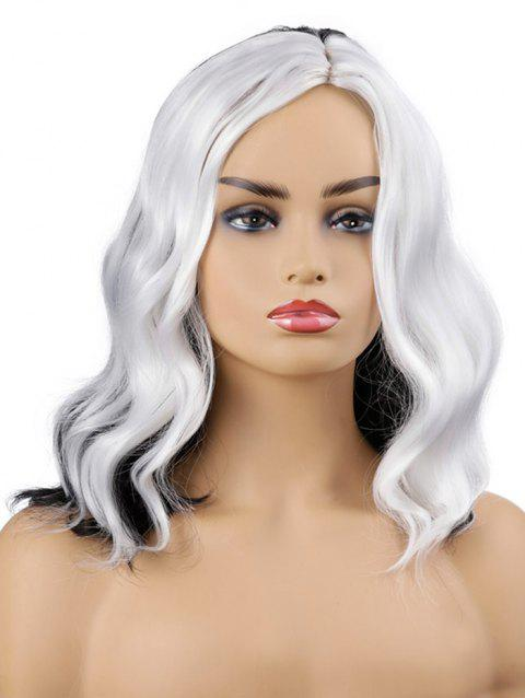 Medium Side Parting Color Block Wavy Cosplay Synthetic Wig - WHITE 16INCH