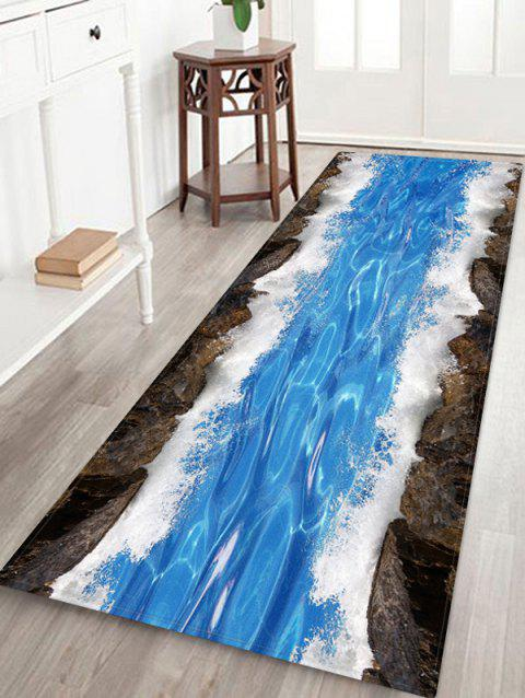 Non-Slip Quick Dry Water Pattern Floor Pad Rug - OCEAN BLUE W24 X L71 INCH