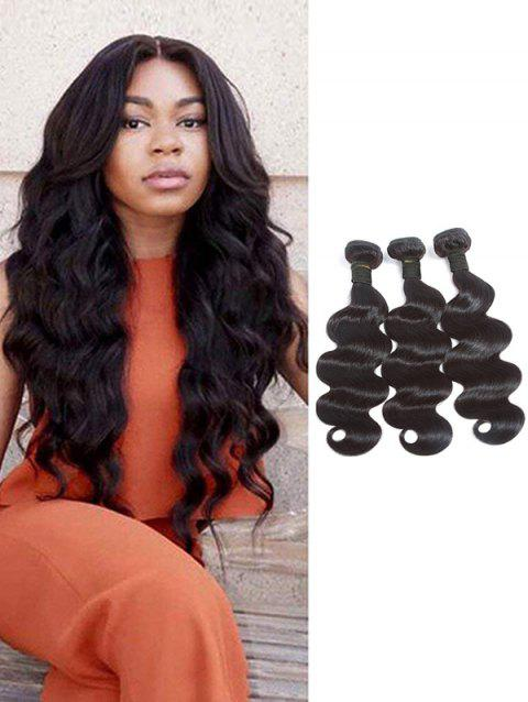 3Pcs Brazilian Natural Body Wave Virgin Human Hair Extensions - NATURAL BLACK 10INCH X 10INCH X 10INCH