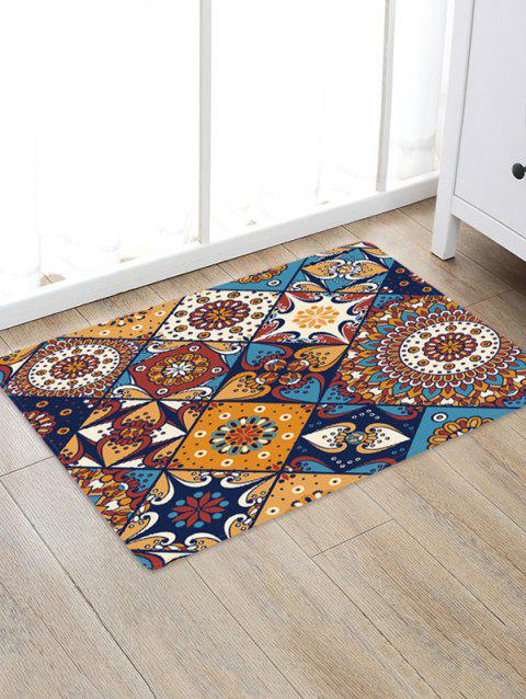 Non-Slip Quick Dry Bohemia Jointed Pattern Floor Pad Rug - BROWN W16 X L24 INCH