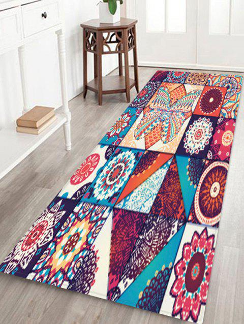 Bohemian Jointed Pattern Non-Slip Quick Dry Floor Pad Rug - FIREBRICK W16 X L47 INCH