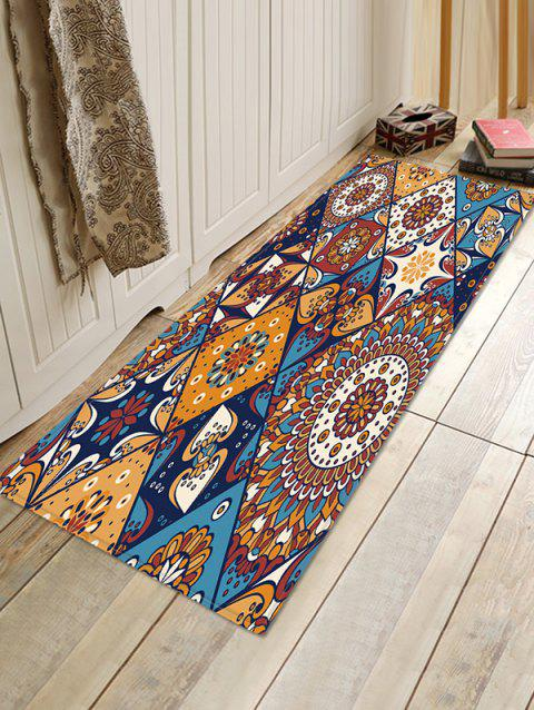 Non-Slip Quick Dry Bohemia Jointed Pattern Floor Pad Rug - BROWN W16 X L47 INCH