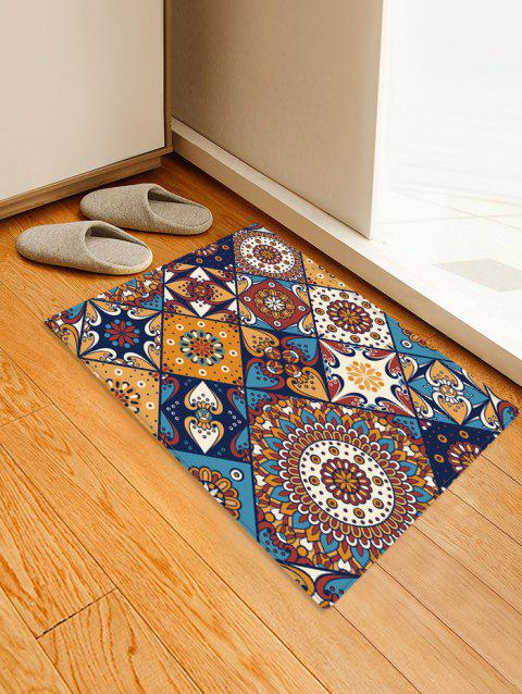 Non-Slip Quick Dry Bohemia Jointed Pattern Floor Pad Rug - BROWN W24 X L35.5 INCH