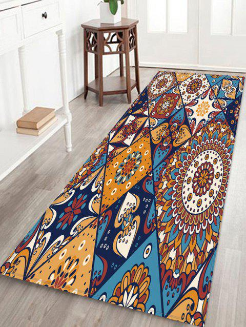 Non-Slip Quick Dry Bohemia Jointed Pattern Floor Pad Rug - BROWN W24 X L71 INCH
