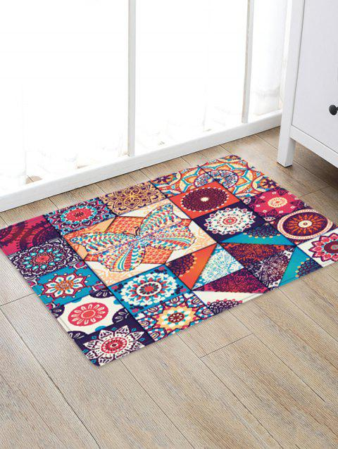 Bohemian Jointed Pattern Non-Slip Quick Dry Floor Pad Rug - FIREBRICK W24 X L35.5 INCH