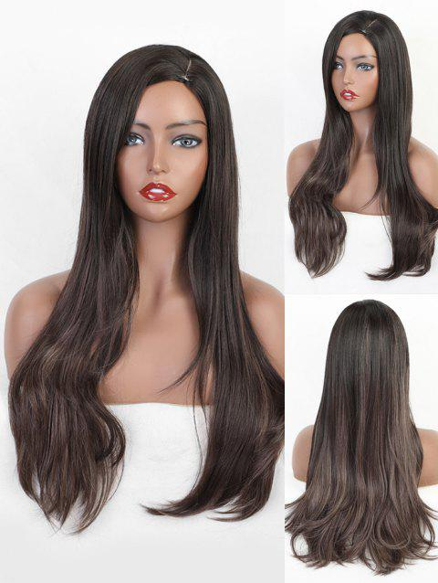 Synthetic Side Part Long Straight Wig - multicolor
