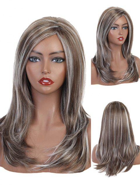 Side Part Natural Mixed Layer Long Curly Synthetic Wig - multicolor